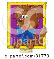 Portrait Of A Brown Puppy Wearing A Blue Bow With A Purple Background