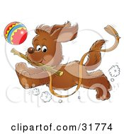 Clipart Illustration Of An Energetic Puppy Running With A Stick In Its Mouth A Ball In The Background A Leash Trailing In The Air