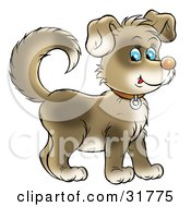 Clipart Illustration Of A Cute Brown Puppy With Blue Eyes Wearing A Collar Facing To The Right And Glancing At The Viewer