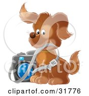 Clipart Illustration Of A Brown Puppy Photographer Biting The Strap Of A Camera by Alex Bannykh