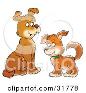 Clipart Illustration Of A Dog Facing Its Puppy As It Glances At The Viewer