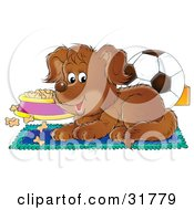 Clipart Illustration Of A Brown Puppy Resting On A Rug Near A Dish Of Dog Food And A Soccer Ball