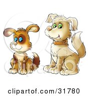 Clipart Illustration Of A Cute Blue Eyed Brown Puppy Sitting By Its Green Eyed Parent