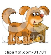 Clipart Illustration Of A Cute Brown Spotted Dog Standing In Front Of A Wooden Dog House