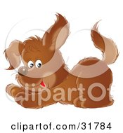 Clipart Illustration Of A Playful Brown Puppy Crouching Down On Its Front Legs