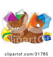Clipart Illustration Of A Brown Puppy Crouching Playfully In Front Of Blocks A Ball And Books