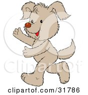 Clipart Illustration Of A Happy Pale Brown Puppy Running On Its Hind Legs Holding Its Arms Out