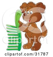 Clipart Illustration Of A Brown Puppy Holding Up A Green Comb