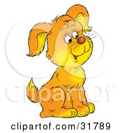 Clipart Illustration Of A Cute Yellow And Orange Puppy Sitting And Facing To The Right