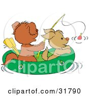 Clipart Illustration Of Two Puppies Fishing In A Raft