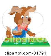 Clipart Illustration Of A Happy Brown Puppy Playing With Colorful Sticks