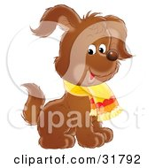 Clipart Illustration Of An Adorable Brown Puppy Dog Wearing A Scarf Sitting And Raising One Ear by Alex Bannykh