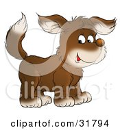 Clipart Illustration Of A Cute White And Brown Dog Smiling And Glancing At The Viewer