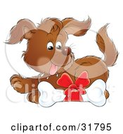 Clipart Illustration Of A Brown Puppy Drooling Over A Dog Bone With A Red Bow On It