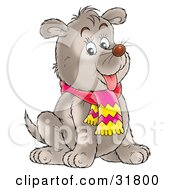 Clipart Illustration Of A Chubby Gray Puppy Dog With Faint Spot Markings Sitting And Wearing A Scarf by Alex Bannykh