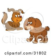 Clipart Illustration Of Two Brown Puppies One Crouching And One Walking