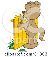 Clipart Illustration Of A Dog Standing On Its Hind Legs Hammering A Fence