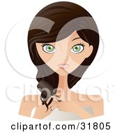 Clipart Illustration Of A Beautiful Brunette Caucasian Woman With Green Eyes Facing Front And Brushing Her Hair by Melisende Vector