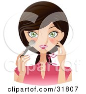 Clipart Illustration Of A Beautiful Brunette Caucasian Woman With Green Eyes Facing Front And Applying Blush To Her Cheeks
