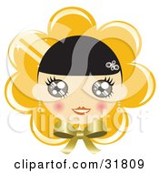 Clipart Illustration Of A Pretty Black Haired Girl With Blushed Cheeks On A Yellow Flower Or Bonnet Background With A Bow