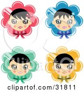 Clipart Illustration Of A Set Of Four Black Haired Girls Over Pink Blue Green And Yellow Flowers Or Bonnets With Bows