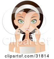 Clipart Illustration Of A Beautiful Brunette Caucasian Woman With Green Eyes Facing Front And Touching Her Face