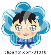 Pretty Black Haired Girl With Blushed Cheeks On A Blue Flower Or Bonnet Background With A Bow
