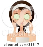 Clipart Illustration Of A Beautiful Brunette Caucasian Woman With Green Eyes Facing Front And Holding A Cucumber Over Her Eyes by Melisende Vector