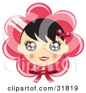 Pretty Black Haired Girl With Blushed Cheeks On A Pink Flower Or Bonnet Background With A Bow
