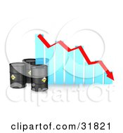 Clipart Illustration Of Three Black Oil Barrels By A Blue Bar Graph With A Red Arrow Showing A Decline