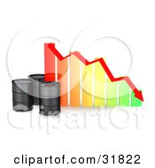 Three Black Unmarked Oil Barrels By A Colorful Bar Graph With A Red Arrow Showing A Decrease