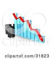 Clipart Illustration Of Three Unmarked Black Oil Barrels And A Red Arrow Along The Decline Of A Blue Bar Graph