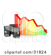 Three Black Oil Barrels By A Colorful Bar Graph With A Red Arrow Showing A Decline