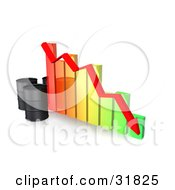 Clipart Illustration Of Three Unmarked Black Oil Barrels And A Red Arrow Along The Decline Of A Colorful Bar Graph