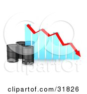 Clipart Illustration Of Three Black Unmarked Oil Barrels By A Blue Bar Graph With A Red Arrow Showing A Decrease