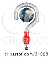 Clipart Illustration of a 3d Globe Inside A Pipe Question Mark With A Shut Off Valve And Dripping Oil by Frog974