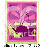 Clipart Illustration Of A Green Circle Patterned High Heel Shoe In Front Of A Purse On A Pink Background With Rays Stars And A Green Border
