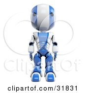 3D Blue And White AO Maru Robot Facing Towards The Viewer Standing Straight With His Arms At His Sides by Leo Blanchette