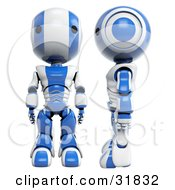 3D Blue And White AO Maru Robots One Facing Front One Facing Left And In Profile by Leo Blanchette