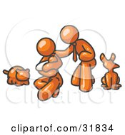 Clipart Illustration Of An Orange Family Father Mother And Newborn Baby With Their Dog And Cat