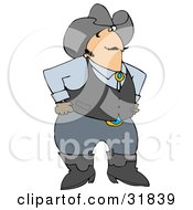 Clipart Illustration Of A Friendly White Cowboy In Boots A Vest And Hat Standing With His Hands On His Hips And Glancing At The Viewer