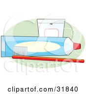 Red Toothbrush In Front Of An Unmarked Blue Tube Of Toothpaste And A Case Of Floss On A Green Oval Over A White Background