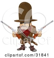 Western Cowboy Bandit Wearing Bullets And Holding Two Pistils