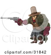 Clipart Illustration Of A Tough Muscular Cowboy In A Hat And Cape At The Ready With A Pistil by AtStockIllustration