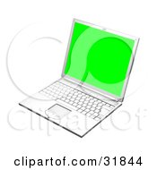 White Laptop Computer Turned Slightly To The Left With A Green Screen