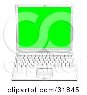 Clipart Illustration Of A White Laptop Computer Facing Front With A Green Screen by AtStockIllustration
