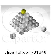 Yellow Ball On Top Of A Pyramid Of Silver Balls On A Gray And White Background Symbolizing Success Leadership And Management