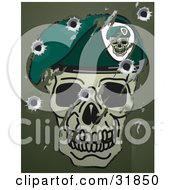 Clipart Illustration Of Scratches Scuffs And Bullet Holes On A Metal Surface With A Skull And Beret Military Motif by AtStockIllustration
