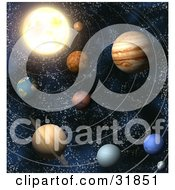 Planets Of Our Solar System In Outer Space With Lines Of Orbit