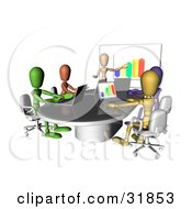 Colorful And Diverse Dummy Figures Using Laptops And A Bar Graph On A Board In A Meeting